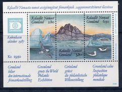 GREENLAND 1987 HAFNIA '87 Block MNH / **.  Michel Block 1 - Blocks & Sheetlets