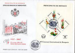 3- MONACO FDC Yvert BF 093 - 2007 - 40ème Concours International De Bouquets TTB - FDC