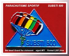 """SUPER PIN'S PARACHUTISME SPORTIF : SUBSTI 500, Sport Extrême, """"ouvrir Son Parachute Sous Les 500 Mètres D'altitude"""" - Parachutting"""