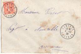 4134 CENTRES Aveyron Lettre 50 C Semeuse Lignée Yv 199 Ob Recette Distribution Lautier B4 - Postmark Collection (Covers)