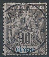 GUYANE - YT N°34 - 10c. Noir Sur Lilas - Oblitéré - TB Etat - Signé - Oblitérés