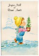 Joyeux Noel  Et Bonne Année-illustrateur ???-enfant Et Petit Sapin De Noel En Pot-- Carte Italienne - Natale