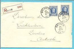 257 Op Brief Aangetekend Stempel DALHEM   (VK) - 1922-1927 Houyoux