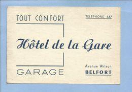 Belfort (90) Hôtel De La Gare Avenue Wilson 2 Scans - Cartes De Visite