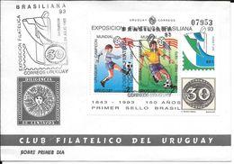CAMPEONES AMERICANOS DE LA COPA DEL MUNDO URUGUAY 1930 1950 BRASIL 1958 1962 1970 EXPOSICION FILATELICA BRASILIANA 1993 - 1994 – États-Unis