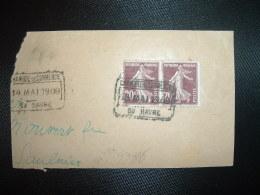 FRAGMENT TP SEMEUSE 15c Paire OBL.19 MAO 1909 CHAMBRE DE COMMERCE DU HAVRE (76 SEINE-MARITIME) - Postmark Collection (Covers)