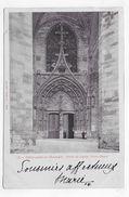 (RECTO / VERSO) VILLEFRANCHE DE ROUERGUE EN 1903 - N° 179 - PORTE DE L' EGLISE - COUPURE EN HAUT A GAUCHE - CPA VOYAGEE - Villefranche De Rouergue