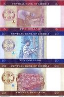 LIBERIA Set 5 10 20 Dollars 2016 UNC - Liberia