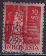 Ned. Indië: Langebalkstempel DANJUWANGI (75?) Op 1949 Gebouwen 30 Sen Roodoranje NVPH 377 - Indes Néerlandaises