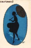 CARTE PEINTE A LA MAIN FEMME A L'OMBRELLE MODE KITCH ART DECO AQUARELLE GOUACHE OMBROMANIE - Illustrateurs & Photographes