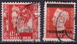 Ned. Indië: Kortebalkstempel VELDPOST-SOE(RABAJA?) Op 1947 Hulpuitgifte 12½ Ct En 1948 Hulpuitgifte 15 Ct NVPH 326-351 - Indes Néerlandaises