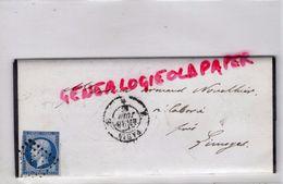 TIMBRE 20 C BLEU SUR LETTRE AVEC CACHET PARIS A LIMOGES 1857- GUSTAVE BRANDY NEGOCIATIONS CHEMINS DE FER - 1853-1860 Napoleon III