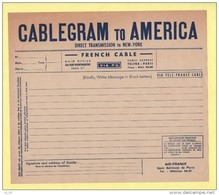 Telegramme Neuf (non Plie) - Cablegram To America - French Cable - Tele Cable - Air France - Telegramas Y Teléfonos