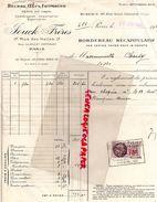 75-PARIS-FACTURE JOUCK FRERES- BEURRE OEUFS FROMAGES-49 RUE SAINT HONORE-1935- TIMBRE FISCAL 75 C AVEC CACHET JOUCK - Petits Métiers
