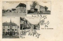 CPA - BISCHOFSHEIM (67) - Carte Multi-Vues De 1906 - Gare Et Restaurants Au Tilleul Et à La Charrue - France