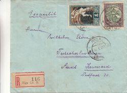 Lettonie - Lettre Recom De 1920 - Oblit Riga - Exp Vers Kesmarok En Tchècoslovaquie ? - Voir Cachet Violet - Latvia