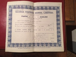 GLORIA   COPPER   MINES  , LIMITED   ------  Certificat  De  10  Actions - Bergbau