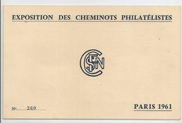 """Carte """"exposition Des Cheminots Philatélistes"""" 1961 -création Du Service Ambulant -Marc Sangnier -Gare Saint-Lazare - France"""