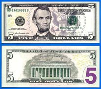 Usa 5 Dollars 2013 Neuf UNC Mint Cleveland D4 Suffixe B Etats Unis United States Dollars US Skrill Paypal OK - Federal Reserve Notes (1928-...)