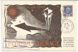 """C676 - Exposition Philatélique QUIMPER - 1942 - Tampon """"Maison Du Prisonnier De Guerre Du Finistère"""" -- - Marcophilie (Lettres)"""