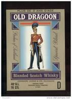 Etiquette De Scotch Whisky   -   Old Dragon  -  Ecosse    -     Thème Militaire - Whisky
