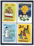 ##G1544. Denmark/ Sydslesvig 1963. Christmas Seals In Bloc Of 4. Childrens Drawings. MNH(**) - Autres