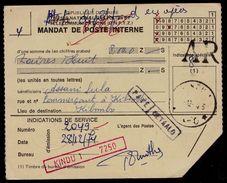 "MANDAT DE POSTE ZAIRE - GRIFFE ROUGE "" KINDU 1 7250 ""  - PAYE - AR - KIBOMBO - A VOIR !! 2 Scans - Congo Belge"