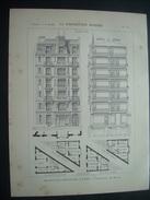 ARCHITECTURE..GRAVURE De 1898..MAISON RUE MEYNADIER, à PARIS XIXe .. Architecte M. MIGNET - Architecture