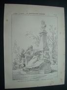 ARCHITECTURE..GRAVURE De 1898..MONUMENT De MAUPASSANT, à PARIS VIIIe .. Architecte M. DEGLANE - Architecture