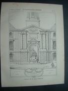 ARCHITECTURE..GRAVURE De 1898..Monument érigé à LOUIS XV, Place Du Présidial à RENNES (35) .. Relevé De M. André NARJOUX - Architecture