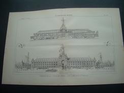 ARCHITECTURE..GRAVURE De 1898..EXPOSITION 1900. PALAIS Des ARMEES.. Projet De MM. AUBERTIN Et UMBDENSTOCK - Architecture