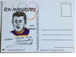 CARTE BRISTOL - René PRIVAT - Dédicace - Hand Signed - Autographe Authentique  - Cyclisme - Cyclisme
