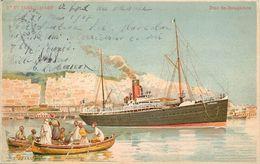 COMPAGNIE GÉNÉRALE TRANSATLANTIQUE - Paquebot Duc De Bretagne, Carte Illustrée Par Lessieux. - Paquebots