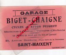 79 -SAINT MAIXENT-RARE BUVARD GARAGE BIGET-CHAIGNE-CYCLES ET AUTOS PEUGEOT-MACHINE A COUDRE-30 AV.GAMBETTA-CYCLISME VELO - Automobile