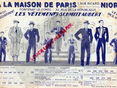 79 -SAINT MAIXENT-85-FONTENAY LE COMTE-RARE BUVARD A LA MAISON DE PARIS-VETEMENTS SCHMITT-AUBERT-1 RUE RICARD- - Vestiario & Tessile