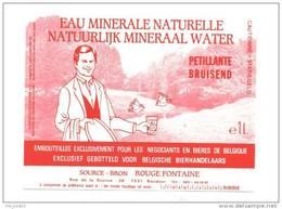 Etiquette     Eau Minérale Naturelle  Pétillante    -  Source Bron Rouge Fontaine    -   11.6 X 9  Cm - Labels