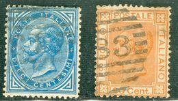Italy 1877 De La Rue Modificati - Lot. RE27-28 - 1861-78 Vittorio Emanuele II