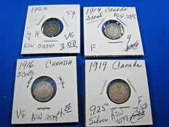 CANADA - LOT OF 4 - 5 CENT SILVER COINS    (skcl2) - Canada