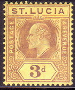 ST LUCIA 1909 SG #71 3d MLH Wmk Mult.Crown CA Purple On Yellow - St.Lucia (...-1978)