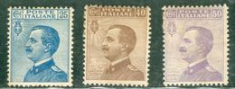 Italy 1908 V.E. III Voltato A Sinistra MH* - Lot. RE83-85 - 1900-44 Victor Emmanuel III
