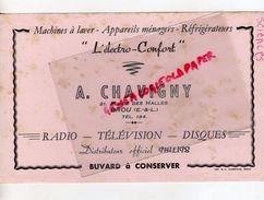 28-BROU-RARE BUVARD A. CHAVIGNY-21 PLACE HALLES- ELECTRO CONFORT-RADIO-TELEVISION-DISQUES PHILIPS -IMPRIMERIE AMBROISE - Blotters