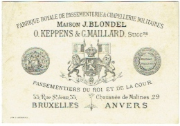 Tarif. Bruxelles/Anvers. Fabrique Royale De Passementerie & Chapellerie Militaires . Maison Blondel/Keppens&Mail - Bélgica