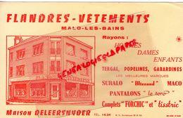 59 - MALO LES BAINS- RARE BUVARD FLANDRES VETEMENTS -MAISON DELEERSNYDER-72 BIS RUE HOTEL DE VILLE-SURALO-BLIZZAND - Textile & Clothing