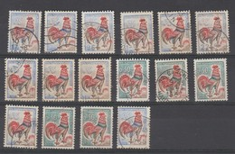 France : Joli Lot De 16 Coqs Du Ducaris Oblitérés - 1962-65 Cock Of Decaris