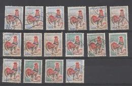 France : Joli Lot De 16 Coqs Du Ducaris Oblitérés - 1962-65 Coq De Decaris