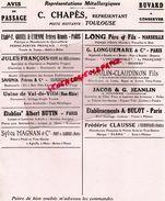 31-TOULOUSE-RARE BUVARD C.CHAPES- PARIS-MARSEILLE-VRIGNE AUX BOIS-CHAMBON FEUGEROLLES-GIVONNE-VERMONDANS-VAL DE VILLE - Blotters