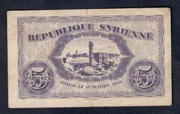 Siria Republique Syrienne 5 Piastres 1942  Lotto 060 - Siria