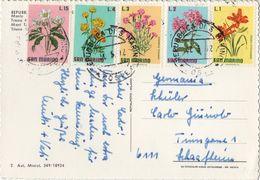FLOR-L180 - SAINT-MARIN Carte Postale Affr. Série Fleurs 1972 - Lettres & Documents