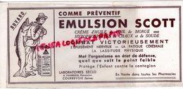 92- COURBEVOIE- BUVARD EMULSION SCOTT- PHARMACIE CREME HUILE FOIE DE MORUE- LABORATOIRES SECLO -A.PANHELEUX PHARMACIEN - Produits Pharmaceutiques