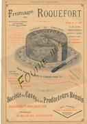 1899 Pub Illustrée Fromage De Roquefort Société ( Un Peu Tachée ) Fonderie De Fer Paradis à HAUTMONT - Advertising